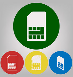 Sim card sign 4 white styles of icon at 4 vector