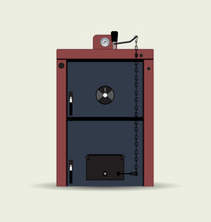 Solid fuel heating boiler vector