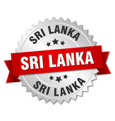 Sri lanka round silver badge with red ribbon vector