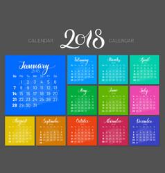 stylish menology 2018 january separately dark vector image