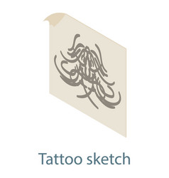tattoo sketch icon isometric 3d style vector image