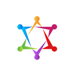 teamwork star formation group management icon vector image