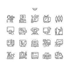 Television well-crafted pixel perfect thin vector