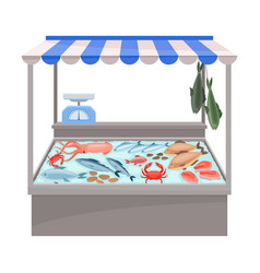 Tent for sale fish and seafood vector