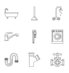 Toilet icons set outline style vector