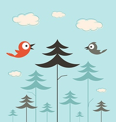 Trees Birds and Clouds Retro Flat Design vector image