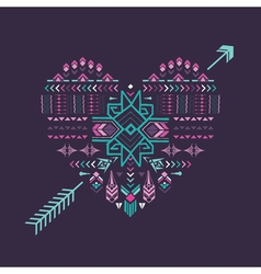 Tribal Heart - Vintage Aztec Background vector image