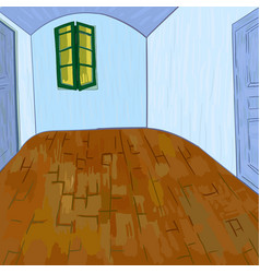 van goghs bedroom without furniture and things vector image