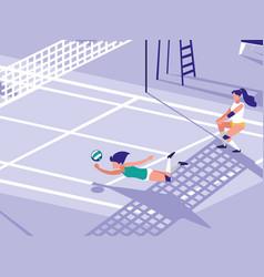 Volleyball sport court scene vector