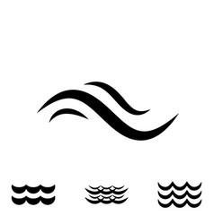 Wave black and white icons vector