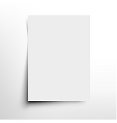 white a4 format sheet of paper with soft shadow vector image