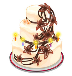 White cake with burning candles and flowers vector