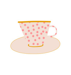 White polka dot ceramic cup and saucer cute vector
