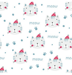 winter seamless pattern with cute cats vector image