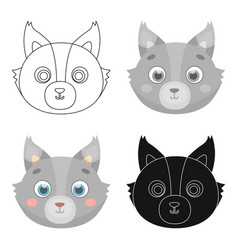 wolf muzzle icon in cartoon style isolated on vector image