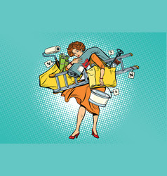 woman with shopping repair tools vector image