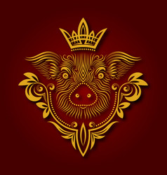 yellow pig is chinese symbol of new year 2019 vector image