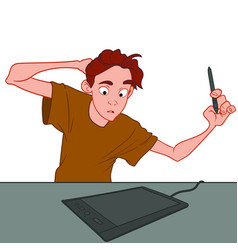 Young artist with a tablet vector
