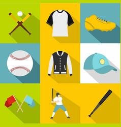 baseball tournament icon set flat style vector image