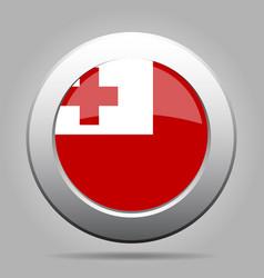 flag of tonga shiny metal gray round button vector image vector image