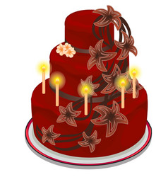 Red cake with burning candles and flowers vector