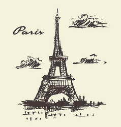 eiffel tower paris france vintage hand drawn vector image vector image