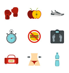 fitness and diet icons set flat style vector image vector image
