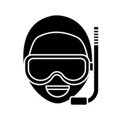 Man with snorkel mask icon vector