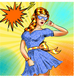 pop art girl in blue dress and blue vector image