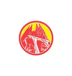 Sagrada Familia Church Retro vector image vector image
