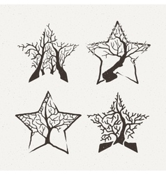 Star trees set Pattern vector image