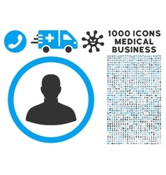 User Icon with 1000 Medical Business Pictograms vector image vector image