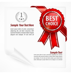 Red award label on paper vector image vector image