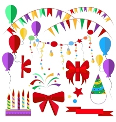 Set of holiday items candles ribbons balls vector image vector image