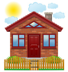 small country house with a wooden fence vector image vector image