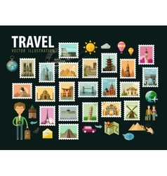 Travel journey Icons set Postage stamps vector image vector image