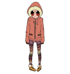 a girl in a coat and leggings decorated with tri vector image