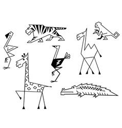 African savanna animals set vector image