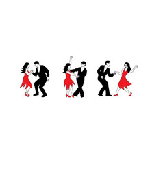 dance set - of dancers in black and vector image