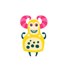 funny yellow cartoon monster with pink horns vector image vector image