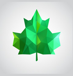 low poly green leaf vector image