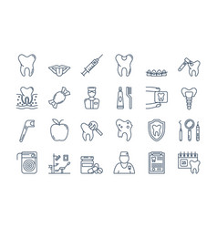 07 outline dental care icons set vector image