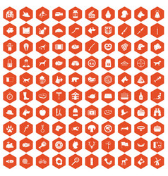 100 dog icons hexagon orange vector
