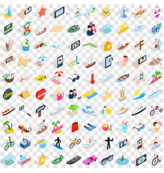 100 summer holidays icons set isometric 3d style vector image vector image