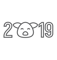 2019 pig year thin line icon celebration vector image