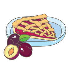 A slice plum pie vector