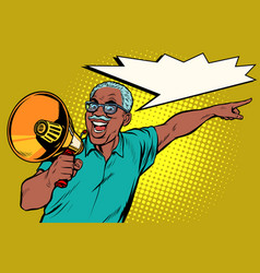 African elderly man with a megaphone vector