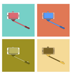 Assembly flat icon smartphone selfie stick vector