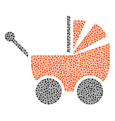 Baby carriage composition of dots vector