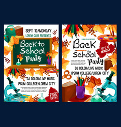 Back to school party poster with autumn leaf vector